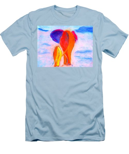 Baby Elephant And Mom Men's T-Shirt (Athletic Fit)