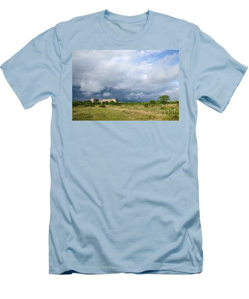 Men's T-Shirt (Slim Fit) featuring the photograph Bad Weather Is Coming Up At  A Medieval Castle Ruin by Kennerth and Birgitta Kullman