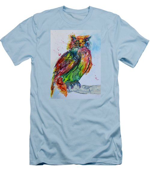 Men's T-Shirt (Slim Fit) featuring the painting Baffled Owl by Beverley Harper Tinsley