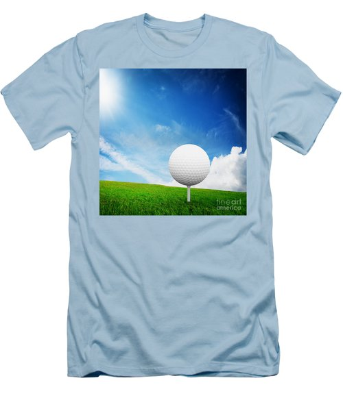 Ball On Tee On Green Golf Field Men's T-Shirt (Athletic Fit)