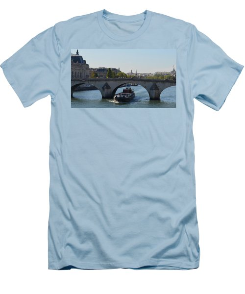 Barge On River Seine Men's T-Shirt (Athletic Fit)