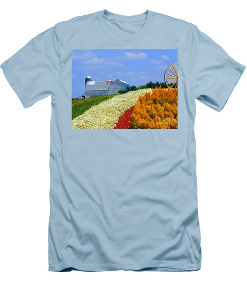 Barn And Quilt Garden Men's T-Shirt (Slim Fit) by Tina M Wenger