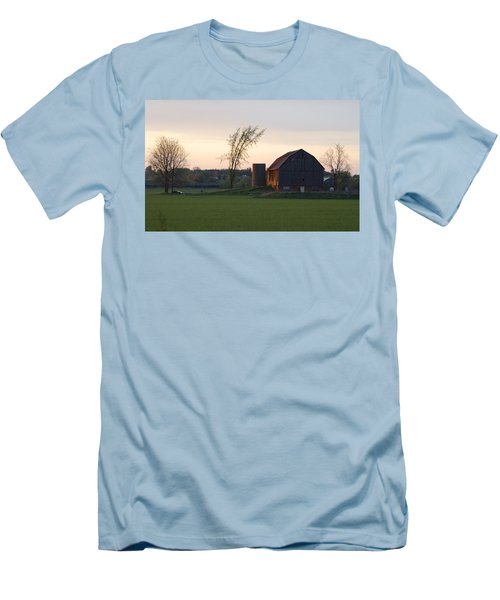 Barn At Dusk Men's T-Shirt (Slim Fit) by David Porteus