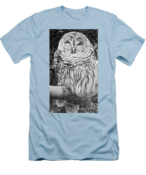 Barred Owl In Black And White Men's T-Shirt (Athletic Fit)