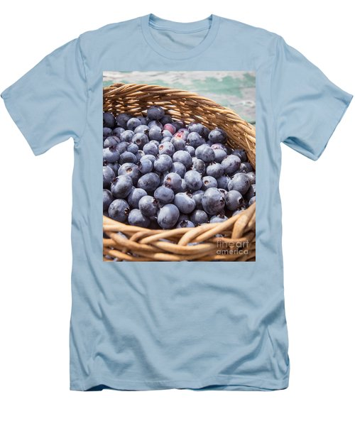 Basket Of Fresh Picked Blueberries Men's T-Shirt (Slim Fit) by Edward Fielding