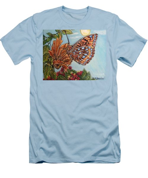 Men's T-Shirt (Slim Fit) featuring the painting Basking In The Warmth Of The Sun In A Tropical Paradise Painting by Kimberlee Baxter