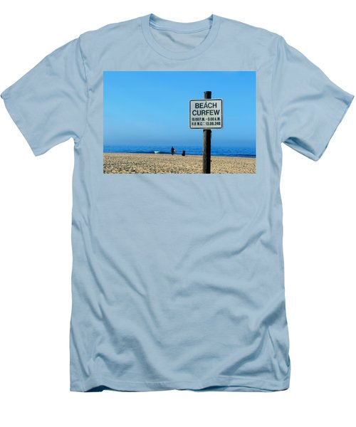 Beach Curfew Men's T-Shirt (Slim Fit) by Tammy Espino