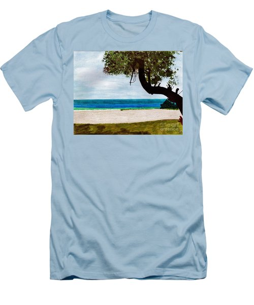 Men's T-Shirt (Slim Fit) featuring the drawing Beach Side by D Hackett