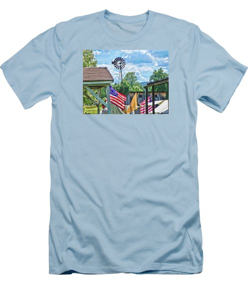 Men's T-Shirt (Slim Fit) featuring the photograph Bedford Village Pennsylvania by Kathy Churchman