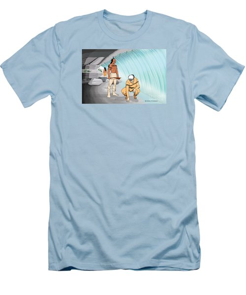 Behind The Waterfall Men's T-Shirt (Athletic Fit)