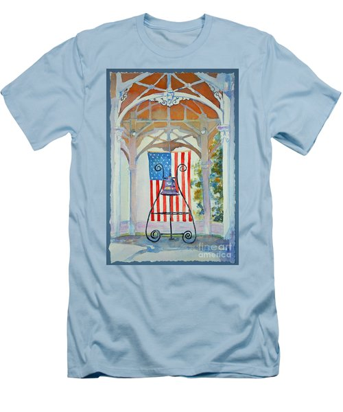Bell And Flag Men's T-Shirt (Slim Fit) by Mary Haley-Rocks