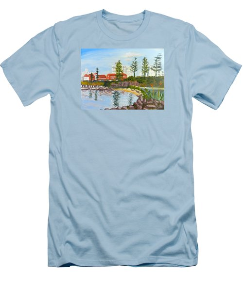 Men's T-Shirt (Slim Fit) featuring the painting Belmore Basin From The North Sea Wall by Pamela  Meredith