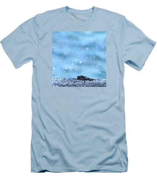 Men's T-Shirt (Slim Fit) featuring the photograph Black Crab In The Blue Ocean Spray by Lehua Pekelo-Stearns