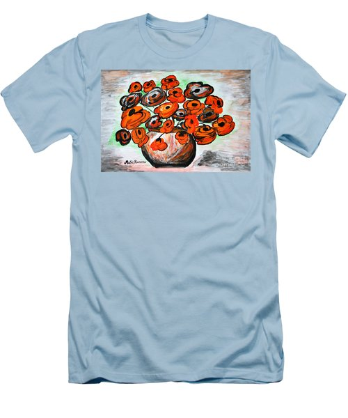 Men's T-Shirt (Slim Fit) featuring the painting Black Poppies by Ramona Matei