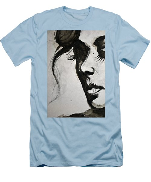 Men's T-Shirt (Slim Fit) featuring the painting Black Portrait 16 by Sandro Ramani