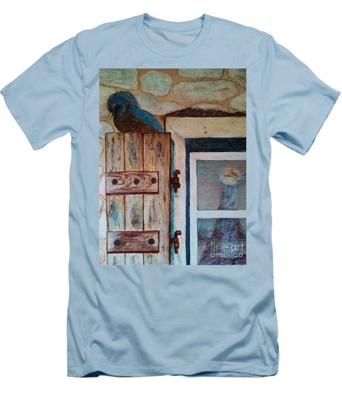 Men's T-Shirt (Slim Fit) featuring the painting Blue Bird by Jasna Gopic