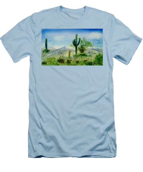 Men's T-Shirt (Slim Fit) featuring the painting Blue Cactus by Jamie Frier
