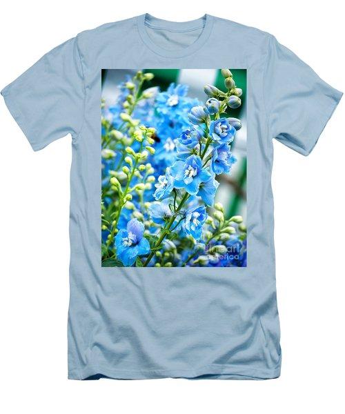 Blue Flowers Men's T-Shirt (Slim Fit) by Antony McAulay