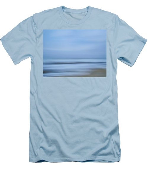 Blue Hour Beach Abstract Men's T-Shirt (Slim Fit) by Linda Villers