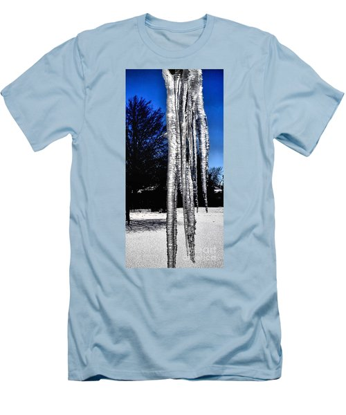Men's T-Shirt (Slim Fit) featuring the photograph Blue Ice by Luther Fine Art