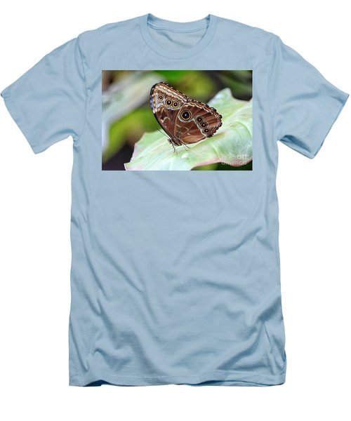 Men's T-Shirt (Slim Fit) featuring the photograph Blue Morpho Butterfly by Teresa Zieba