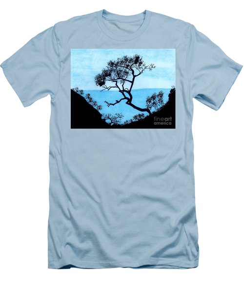 Men's T-Shirt (Slim Fit) featuring the drawing Blue Mountain by D Hackett