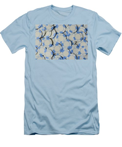 Blue Poker Chip Background Men's T-Shirt (Athletic Fit)