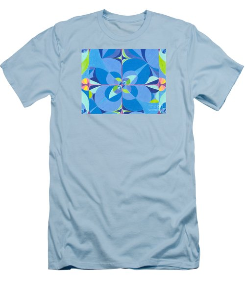 Men's T-Shirt (Slim Fit) featuring the drawing Blue Unity by Kim Sy Ok