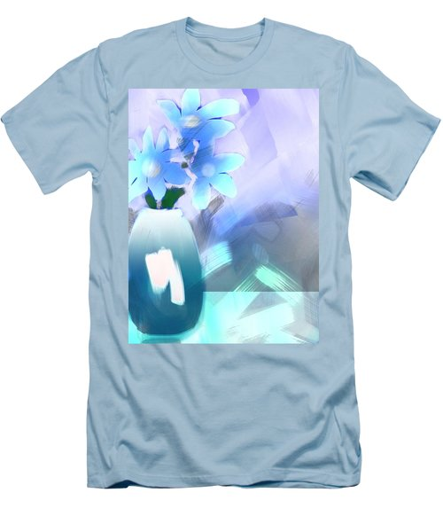 Men's T-Shirt (Slim Fit) featuring the digital art Blue Vase Of Flowers by Frank Bright