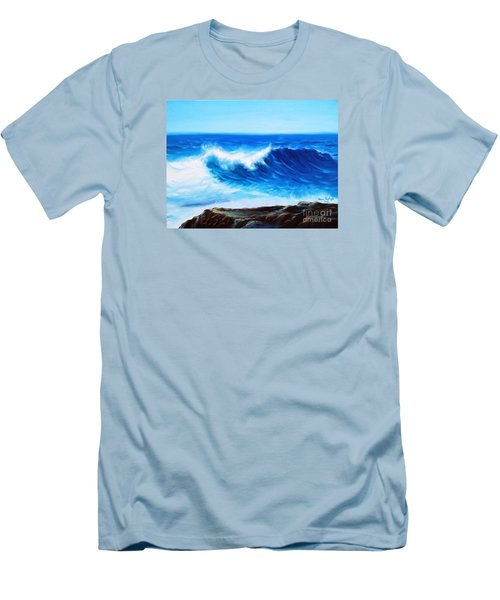 Men's T-Shirt (Slim Fit) featuring the painting Blue by Vesna Martinjak