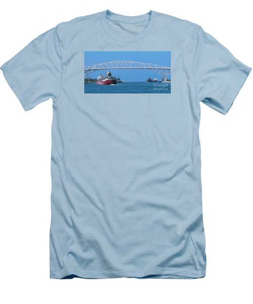 Blue Water Bridge And Freighters Men's T-Shirt (Slim Fit) by Ann Horn