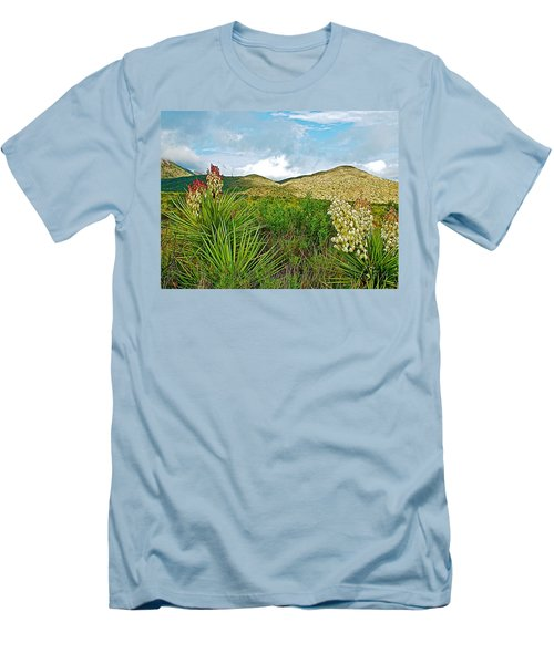 Blue Yucca And Chisos Mountains In Big Bend National Park-texas Men's T-Shirt (Athletic Fit)