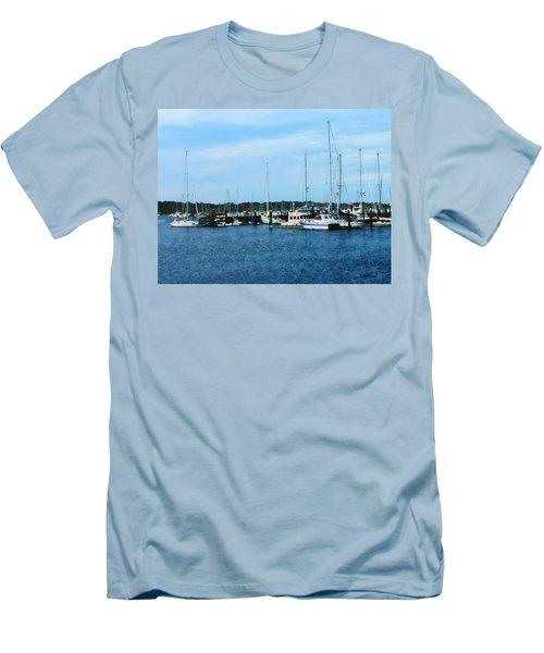 Boats At Newport Ri Men's T-Shirt (Slim Fit) by Susan Savad