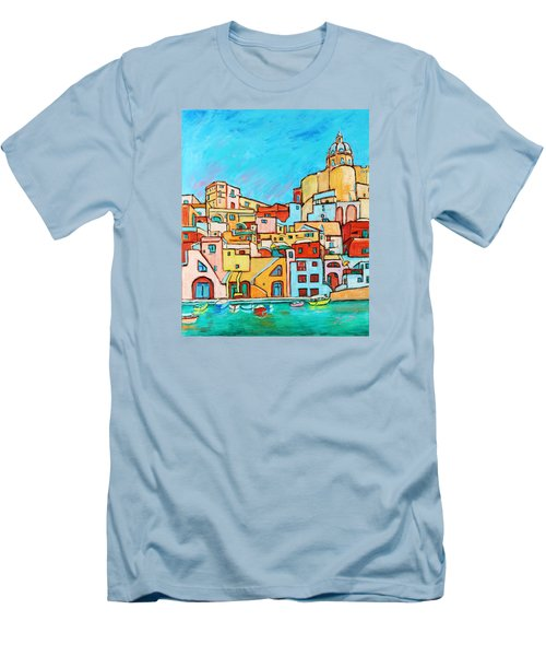 Boats In Front Of The Buildings Vii Men's T-Shirt (Slim Fit) by Xueling Zou