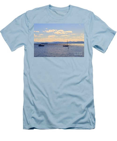 Boats On Lake Champlain Vermont Men's T-Shirt (Slim Fit) by Catherine Sherman
