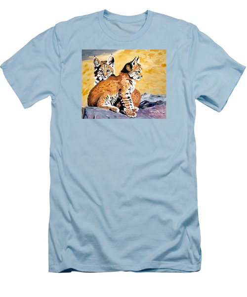 Men's T-Shirt (Slim Fit) featuring the painting Bob Kittens by Phyllis Kaltenbach