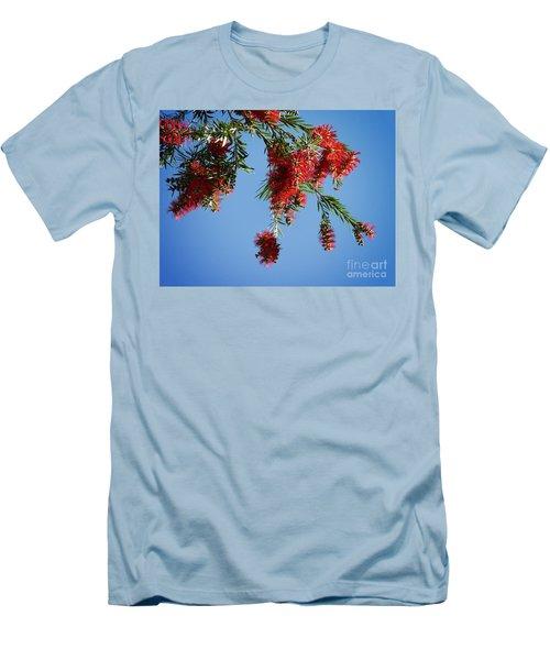Bottle Brushing The Sky Men's T-Shirt (Slim Fit) by Meghan at FireBonnet Art