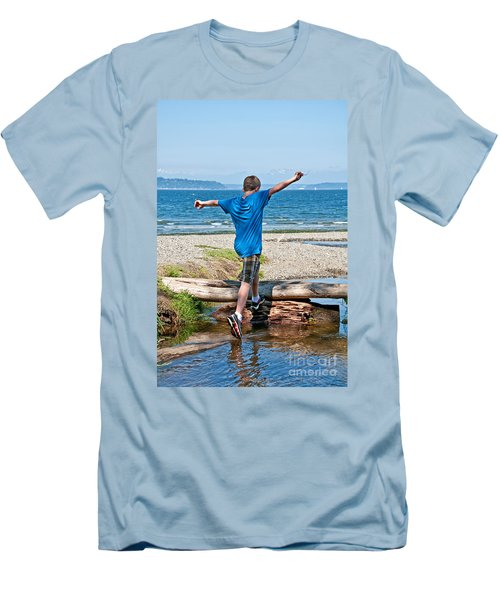 Boyhood Fun Art Prints Men's T-Shirt (Slim Fit) by Valerie Garner