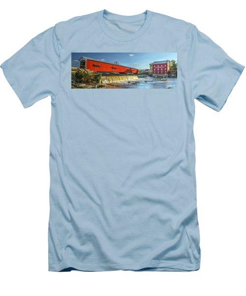 Bridgeton Bridge And Mill Men's T-Shirt (Slim Fit) by Harold Rau