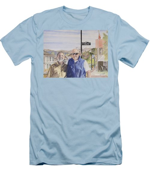 Men's T-Shirt (Slim Fit) featuring the painting Bros by Carol Flagg