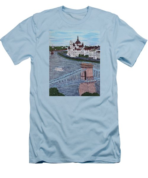 Men's T-Shirt (Slim Fit) featuring the painting Budapest Bridge by Jasna Gopic