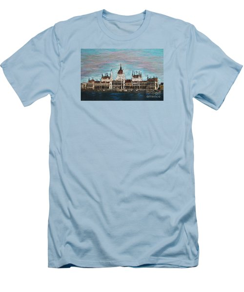 Men's T-Shirt (Slim Fit) featuring the painting Budapest Parliament By Jasna Gopic by Jasna Gopic