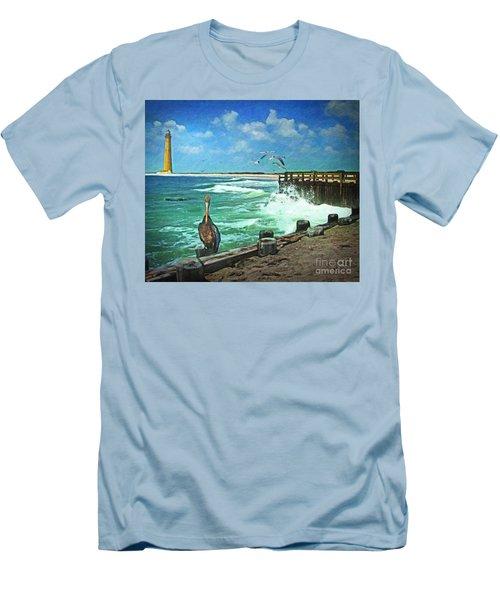 Men's T-Shirt (Slim Fit) featuring the digital art Bulkhead At Holgate Beach by Lianne Schneider