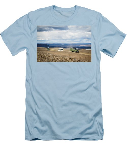 Men's T-Shirt (Slim Fit) featuring the photograph Buses Of Landmannalaugar by Peta Thames