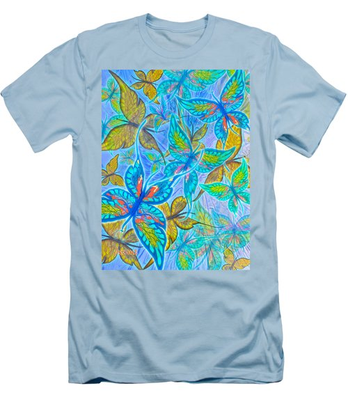 Men's T-Shirt (Slim Fit) featuring the mixed media Butterflies On Blue by Teresa Ascone