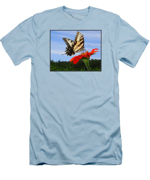 Butterfly On Red Daisy Men's T-Shirt (Slim Fit)