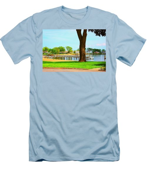 Men's T-Shirt (Slim Fit) featuring the photograph By The Sea by Judy Palkimas