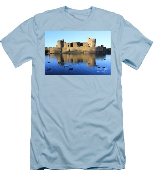 Men's T-Shirt (Slim Fit) featuring the photograph Caerphilly Castle by Vicki Spindler