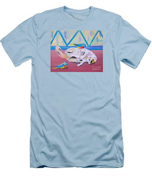 Men's T-Shirt (Slim Fit) featuring the painting Calico And Friends by Phyllis Kaltenbach