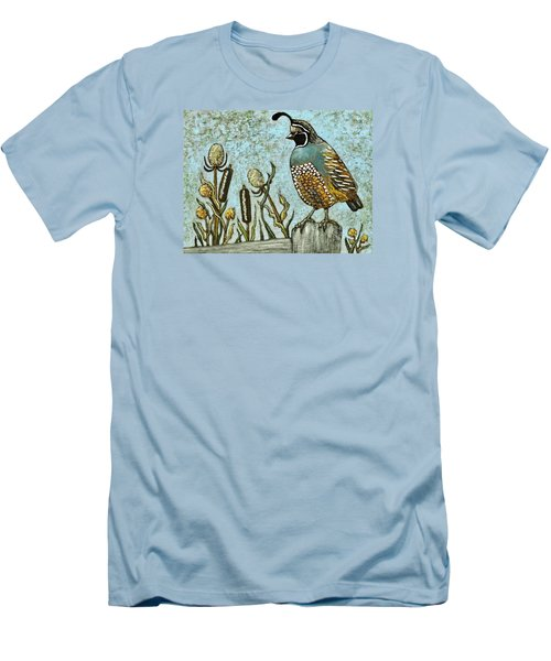 Men's T-Shirt (Slim Fit) featuring the painting California Quail by VLee Watson